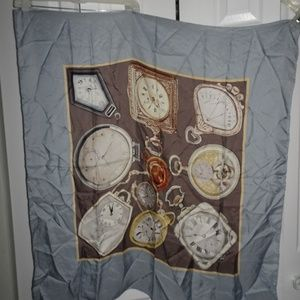 Due Per Due Pocket Watches Square Silk Scarf